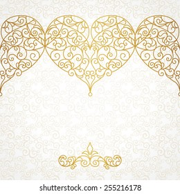 Ornate vector border with hearts in line art style. Elegant element for design, place for text. Lace floral illustration for wedding invitations, greeting cards, Valentines cards. Outline frames.