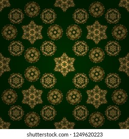 Ornate vector decoration. Luxury, royal and Victorian concept. Vintage baroque floral seamless pattern in gold over green. Golden elements isolated on green background.