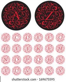 Ornate vector drop cap alphabet with letters in circular swash patterns.