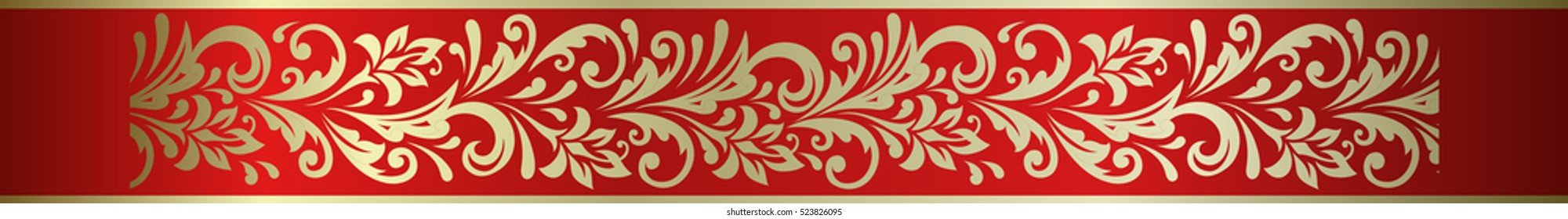 Ornate vector floral decorative element frame border in Russian hohloma style.