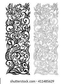 Ornate vector floral pattern for cutting on white background