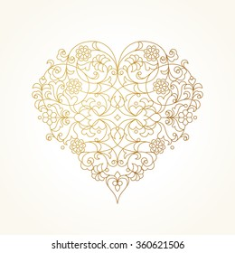 Ornate vector heart in line art style. Elegant element for logo design, place for text. Lace floral illustration for wedding invitations, greeting cards, Valentines cards. Golden outline pattern.