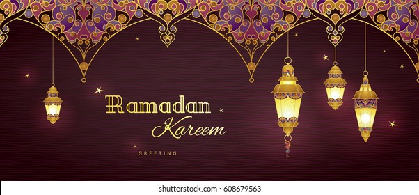 Ornate vector horizontal banner, golden vintage lanterns for Ramadan wishing. Arabic shining lamps. Decor in Eastern style. Islamic background. Ramadan Kareem card, advertising, discount, poster.