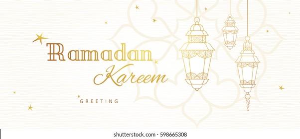 Ornate vector horizontal banner, vintage lanterns for Ramadan wishing. Arabic shining lamps. Outline decor in Eastern style. Islamic background. Ramadan Kareem card, advertising, discount, poster.