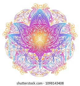Ornate vector ornamental Lotus tattoo against the background of the mandala. Spiritualism, magical symbols for astrology and alchemy in boho style and ethnic art .