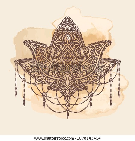 Ornate Vector Ornamental Lotus Tattoo Against Stock Vector Royalty