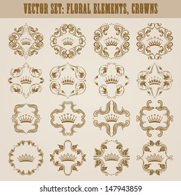 Ornate vector set. Decorative victorian crown and heraldic floral elements. In vintage style.