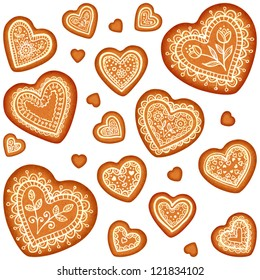 Ornate vector traditional gingerbread hearts set