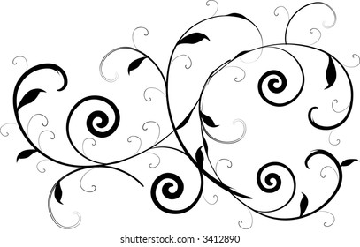 Ornate Victorian style scroll in vector format.