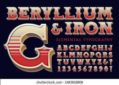 Ornate vintage 3d font alphabet with color stripe effects; Beryllium an Iron elemental typography
