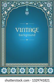 Ornate vintage background, template for design of invitation and greeting card in Arabic and Indian style