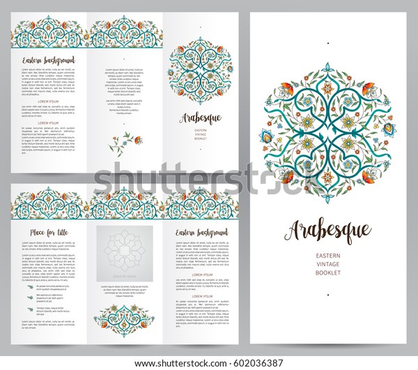 Ornate vintage booklet with oriental floral decor. Bright floral decoration in Eastern style. Template frame for brochure, invitation, flyer, page layouts, leaflet, poster. Premium vector border.