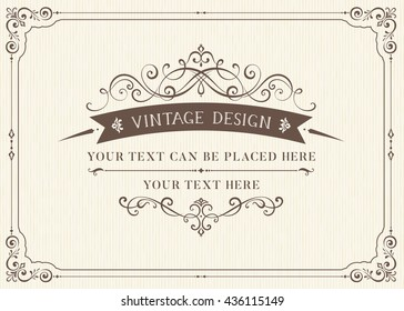 Ornate vintage card design with ornamental flourishes frame. Use for wedding invitations, royal certificates, greeting cards, menus, covers, posters, brochures and flyers. Vector illustration.