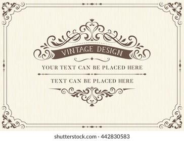 Ornate vintage card design with ornamental flourishes frame. Use for wedding invitations, royal certificates, greeting cards. Vector illustration.