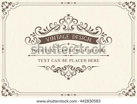 Ornate Vintage Card Design Ornamental Flourishes Image Vectorielle