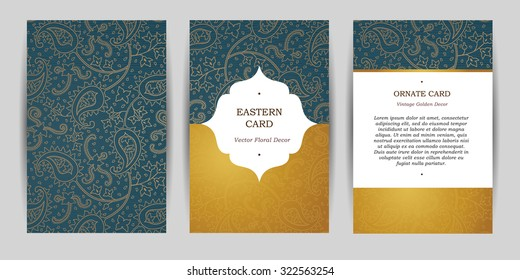 Ornate vintage cards. Outline paisley decor in Eastern style. Template frame for greeting card, wedding invitation, certificate, leaflet, poster. Vector golden border with place for text.
