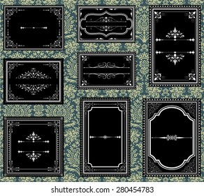 Ornate Vintage Frames - Set of Ornate vector frames.  Each frame is grouped individually for easy editing.  Colors are global.  Seamless pattern included in swatches window.