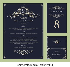 Ornate vintage vector templates set. Wedding menu, table number and name place card design.