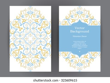 Ornate vintage vertical cards. Pastel decor in Eastern style. Template frame for save the date and greeting card, wedding invitation, certificate, leaflet, poster. Vector border with place for text.
