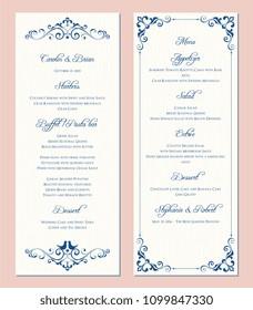 Ornate wedding menu card. Swirl floral template. Classic vintage design. Vector illustration.