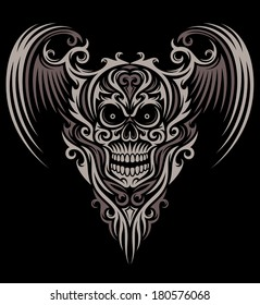 Ornate Winged Skull