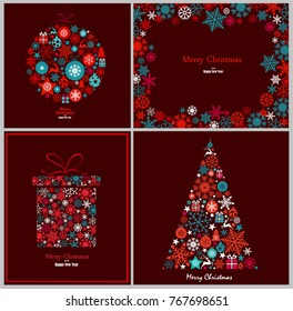 Ornate winter holidays greeting cards with Christmas tree, gift box, Christmas ornaments, decorative frame with snowflakes. Vector illustration in blue and red tones on dark red background