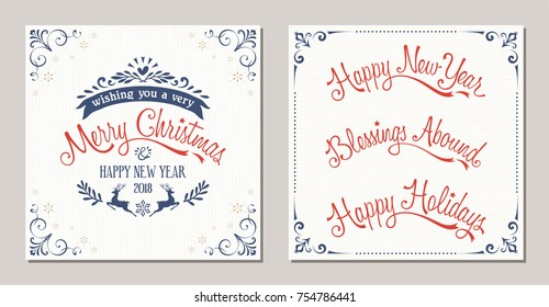 Ornate winter holidays typographic design with reindeer, snowflakes and swirl frames. Merry Christmas, Happy New Year, Blessings Abound and Happy Holidays lettering. Vector illustration.