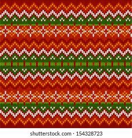 Ornate zigzag stripes vector Christmas knit seamless pattern