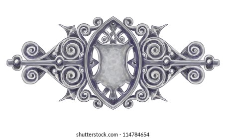 Ornated silver vintage decor with heraldic shield. Imitation of watercolor drawing. Vector illustration.