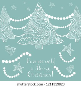 Ornated White Christmas Trees with Toys, Chaplets and Hand Written Lettering on Pewter Blue Background. Greeting Card for Winter Season Holidays. Boho, Zentangle, Doodle Style Pattern.
