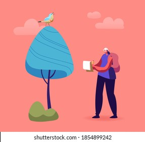 Ornithologist Female Character Writing Notes while Watching Bird on Tree, Birdwatching Hobby or Activity, Volunteer Observing Flying Bird, Explore Nature, Study Wildlife. Cartoon Vector Illustration