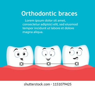 Orthodontic braces banner with teeth characters. Dental clinic services. Alignment of teeth with braces. After correction with brackets. Stomatology check up, hygiene and treatment