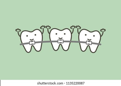 orthodontics teeth or dental braces - tooth cartoon vector flat style cute character for design