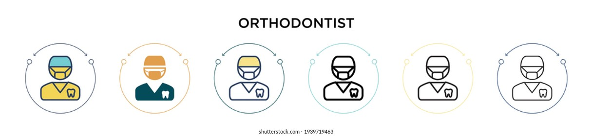 Orthodontist icon in filled, thin line, outline and stroke style. Vector illustration of two colored and black orthodontist vector icons designs can be used for mobile, ui, web