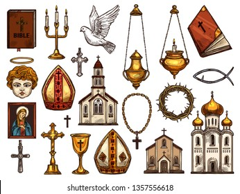 Orthodox and catholic or evangelic and protestant Christianity religion symbols. Vector isolated sketch religious icon, church and Jesus Christ thorn crown, Pope mitre, Christian dove and holy bible