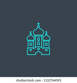 Orthodox Church concept blue line icon. Simple thin element on dark background. Orthodox Church concept outline symbol design from Russia set. Can be used for web and mobile UI/UX