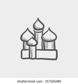 Orthodox church sketch icon for web, mobile and infographics. Hand drawn vector dark grey icon isolated on light grey background.