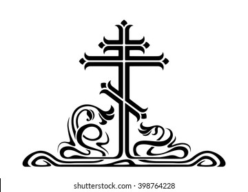 Orthodox cross, crucifix with decorative elements. Art-nouveau style.