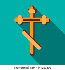Orthodox cross icon in flat style on a turquoise background
