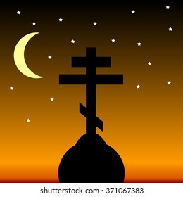 The Orthodox Cross at night. Vector illustration.