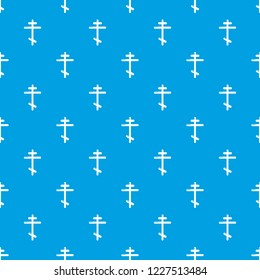 Orthodox cross pattern vector seamless blue repeat for any use