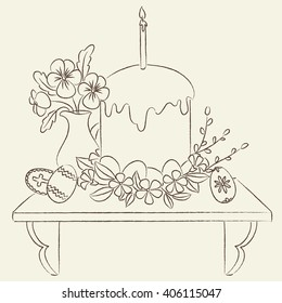 Orthodox Easter illustration. Line art illustration. Coloring page Easter.