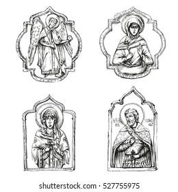Orthodox icons, vector
