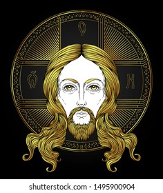 Orthodox Jesus Christ with halo.  Beautiful religious art. Bible character. Alchemy, religion, spirituality, occultism, tattoo art. Isolated vector illustration.