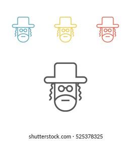 Orthodox jew line icon. Vector illustration.