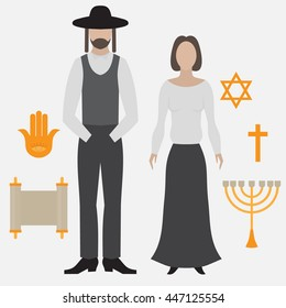 Orthodox jew, man and woman. Flat icon symbols of Judaism minora, david star, anchovy and scroll vector
