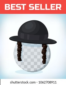 Orthodox jewish hat with sideburns. Black cylinder hat. Judaism symbols. Masquerade costume headdress. Carnival or Halloween mask. Cartoon Vector illustration.