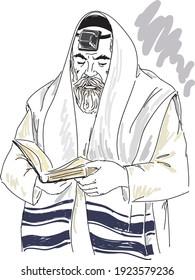 Orthodox  jewish  man  reading torah.  Hand drawing illustration.