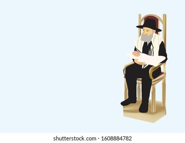 An Orthodox Jewish rabbi sits on Elijah's chair. Shawl around his shoulders. On his knees a pillow. And on it is an eight-day-old baby. Light blue background illustration.