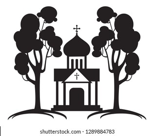 Orthodox temple silhouette